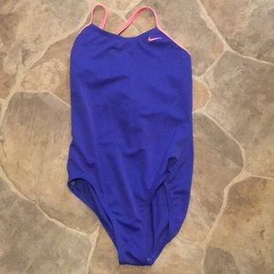 Blue and pink Nike one piece swimsuit